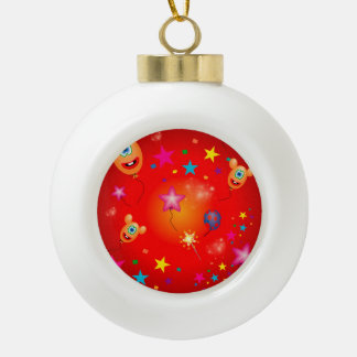 Funny balloons and stars ceramic ball christmas ornament