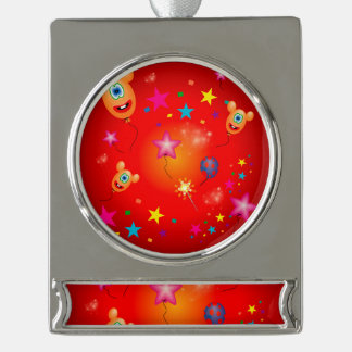 Funny balloons and stars silver plated banner ornament