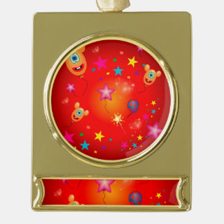 Funny balloons and stars gold plated banner ornament