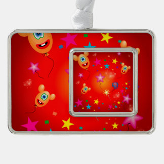 Funny balloons and stars silver plated framed ornament