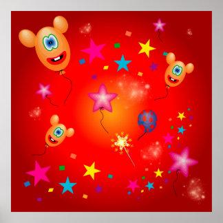 Funny balloons and stars print