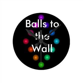 Funny Balls to the Wall Rainbow Designer Clock