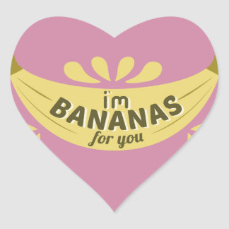 Funny banana illustration I'm bananas for you Heart Sticker