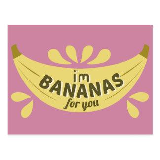 Funny banana illustration I'm bananas for you Postcard