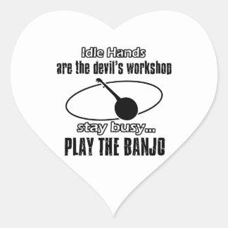Funny banjo designs heart sticker