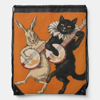 Funny Banjo-Playing Black Cat Drawstring Backpack