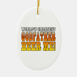 Funny Baptisms Birthdays Worlds Greatest Godfather Double-Sided Oval Ceramic Christmas Ornament