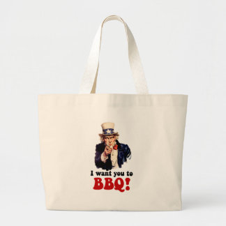 Funny barbecue large tote bag