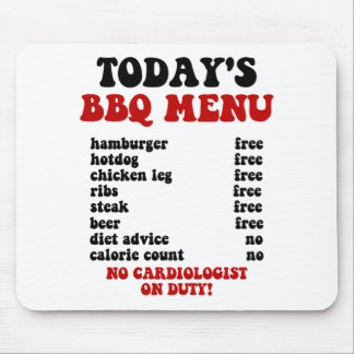 Funny Barbecue Menu Mouse Pad
