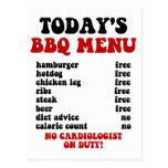 Funny Barbecue Menu Postcards