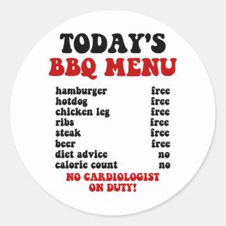 Funny Barbecue Menu Classic Round Sticker