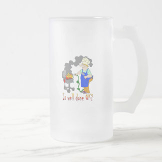 Funny Barbeque Design - Is Well Done OK? Frosted Glass Beer Mug