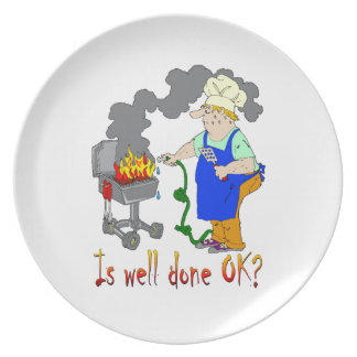 Funny Barbeque Design - Is Well Done OK? Melamine Plate