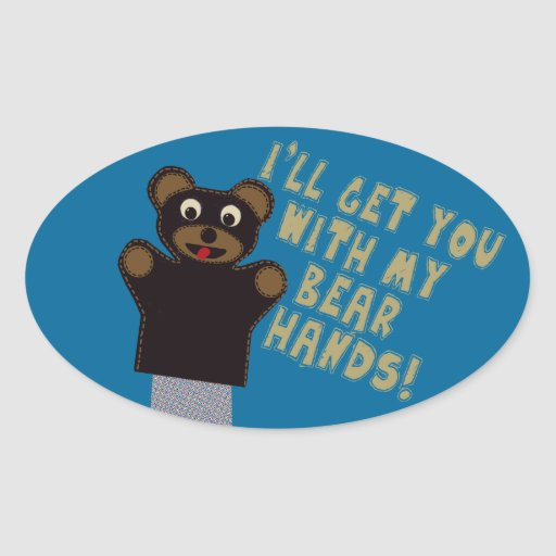 Funny Bare Hands Oval Sticker