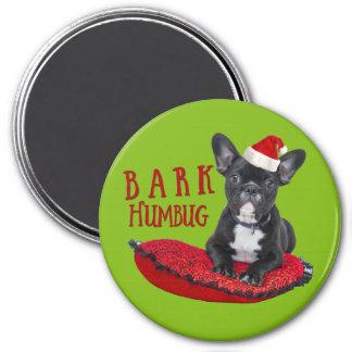Funny BARK Humbug French Bulldog Christmas Magnet