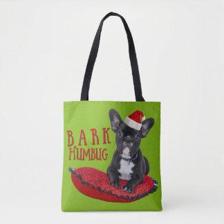 Funny BARK Humbug French Bulldog Festive Bag Tote Bag