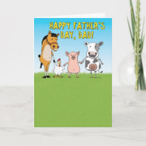 Funny Barn Animals Father's Day Card