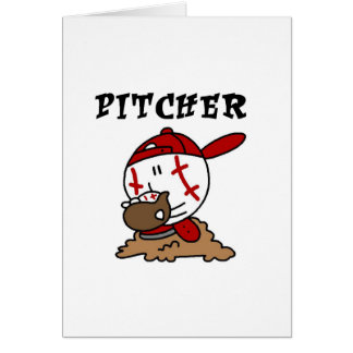 Funny Baseball Pitcher T-shirts and Gifts Greeting Cards