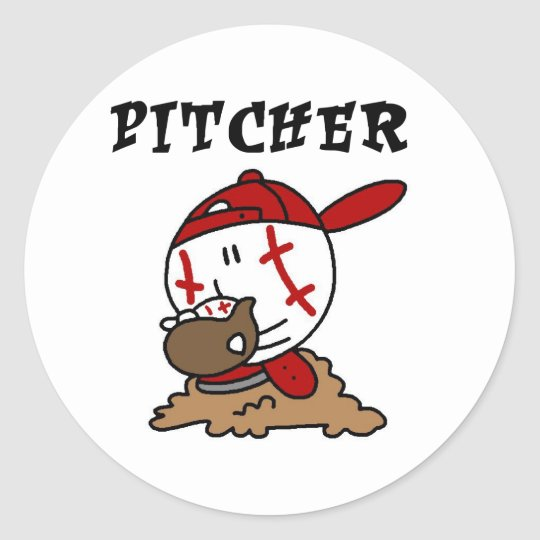 Funny Baseball Pitcher T-shirts and Gifts Classic Round Sticker