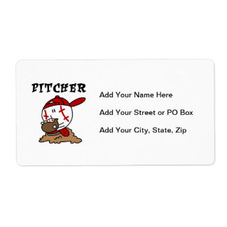 Funny Baseball Pitcher T-shirts and Gifts Shipping Label