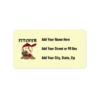 Funny Baseball Pitcher T-shirts and Gifts Label