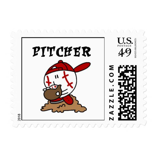 Funny Baseball Pitcher T-shirts and Gifts Stamps