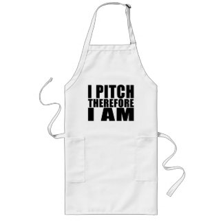 Funny Baseball Pitchers : I Pitch Therefore I Am Long Apron