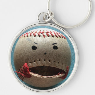 funny baseball Silver-Colored round keychain