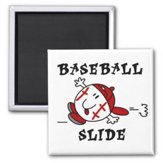 Funny Baseball Slide T-shirts and Gifts 2 Inch Square Magnet