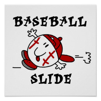 Funny Baseball Slide T-shirts and Gifts Poster