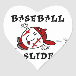 Funny Baseball Slide T-shirts and Gifts Heart Stickers