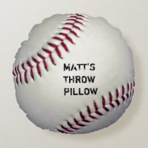 Funny Baseball Throw Round Pillow