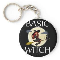 Funny Basic Halloween Witch Apparel Design Keychain