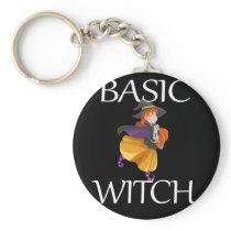 Funny Basic Halloween Witch Design Keychain