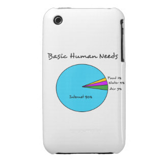 Funny Basic Human Needs for computer enthusiasts Case-Mate iPhone 3 Case