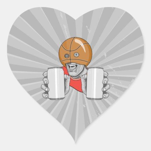 funny basketball fan fanatic heart sticker