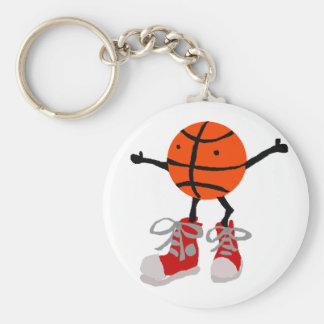 Funny Basketball in Red High Tops Cartoon Keychain
