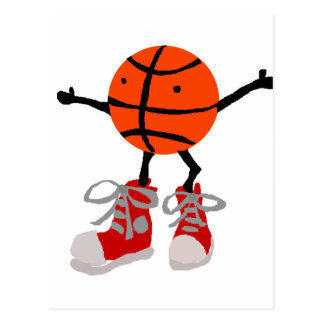 Funny Basketball in Red High Tops Cartoon Postcard