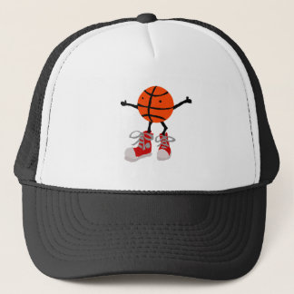 Funny Basketball in Red High Tops Cartoon Trucker Hat