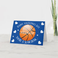 Funny Basketball Slam Dunk Valentines Holiday Card