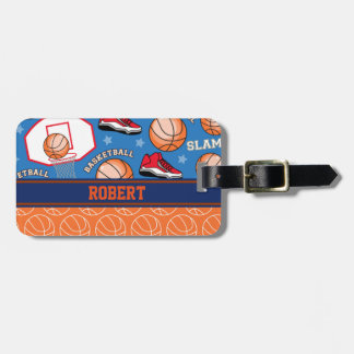 FUNNY BASKETBALL Sports Cartoon - ADD YOUR NAME Luggage Tag