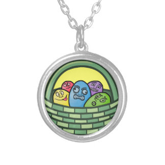 Funny Basketcase Easter Round Pendant Necklace