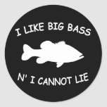 Funny Bass Fishing Classic Round Sticker