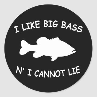 Funny Bass Fishing Classic Round Sticker
