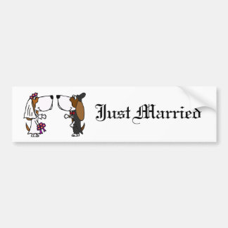 Funny Basset Hound Bride and Groom Wedding Art Bumper Sticker