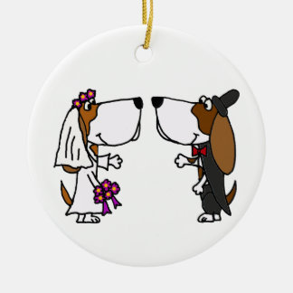 Funny Basset Hound Bride and Groom Wedding Art Ceramic Ornament