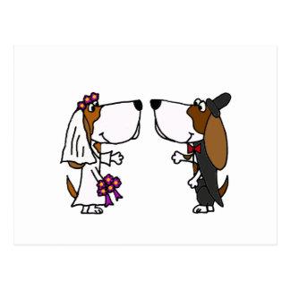 Funny Basset Hound Bride and Groom Wedding Art Postcard
