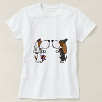 Funny Basset Hound Bride and Groom Wedding Art T-Shirt