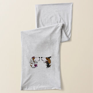 Funny Basset Hound Bride and Groom Wedding Scarf