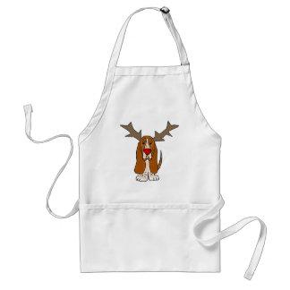 Funny Basset Hound Christmas Reindeer Adult Apron